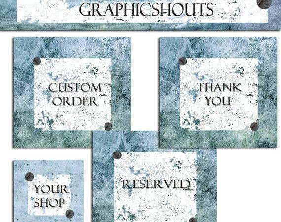 Etsy Shop Banner Avatars Set Blue Vintage Rusty Grunge Cover