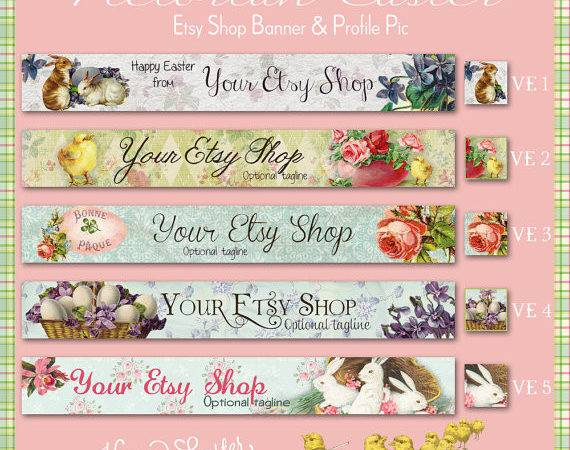 Etsy Shop Banner Set Victorian Style Easter Your Choice Pre