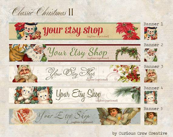 Etsy Shop Christmas Holiday Banner Set Classic Your