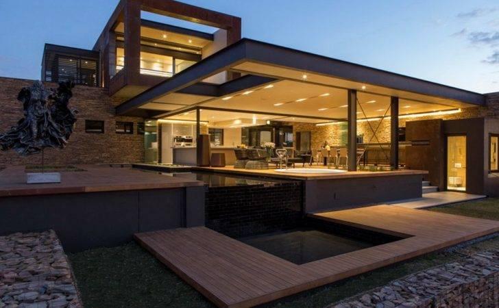 Evening Lighting Luxurious Modern Residence Pretoria South Africa