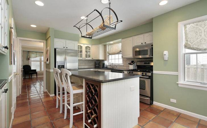 Example Light Green Wall Paint Featuring Open Bright Kitchen