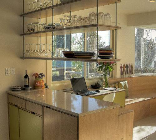 Example Midcentury Kitchen Design Denver Open Cabinets