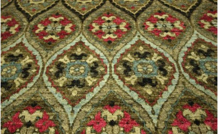 Exquisite High End Oriental Ikat Hand Knotted Olive Green Rug