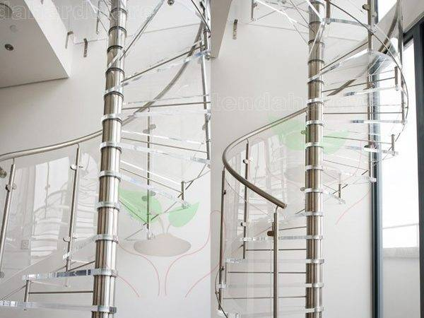 External Used Metal Spiral Staircase Glass Tread Stainless
