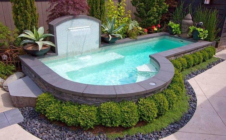 Fabulous Water Fountain Small Swimming Pools Designs Black