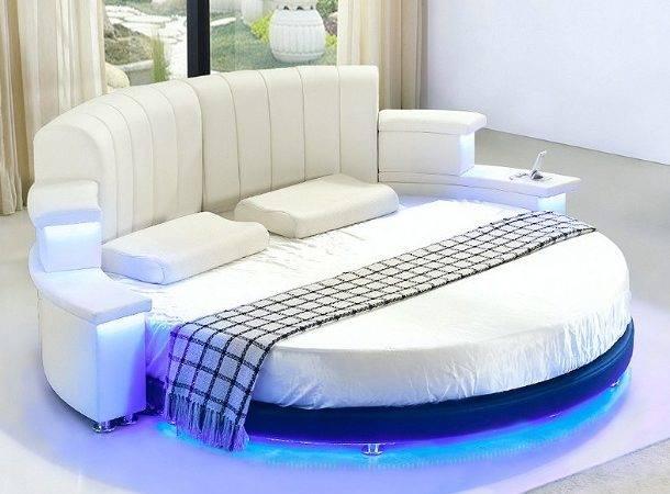 Factory Supply Moderne Lederen Ronde Bed Met Led