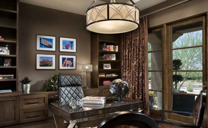 Fairly Spacious Home Office Can Sustain Oversized Ceiling Lighting
