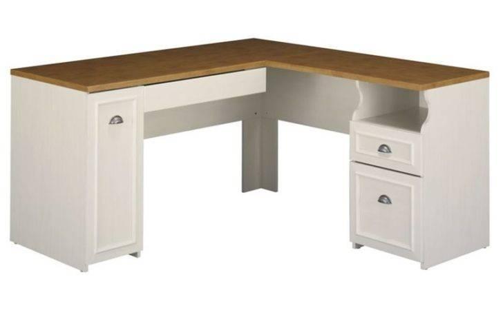 Fairview Shape Wood Set Hutch Antique White Computer Desk Ebay