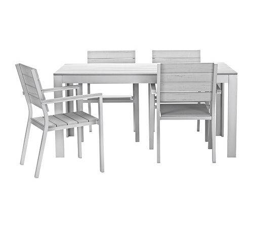 Falster Table Chairs Armrests Outdoor Ikea Polystyrene Slats