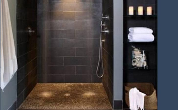 Fancy Black Grey Walk Shower Two Heads