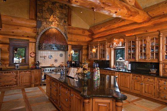 Fancy Kitchen Kitchens Pinterest Cabin Log