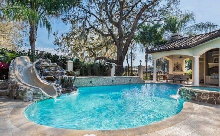 Fantastic Ideas Home Pool Slides Swimming Pools