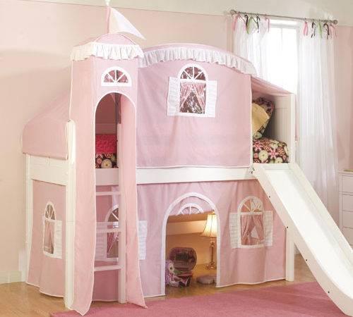 Fantasy Castle Tent Low Loft Bed Pink White Luxury