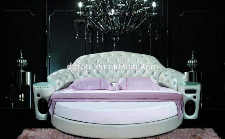 Fashional King Leather Round Bed Double