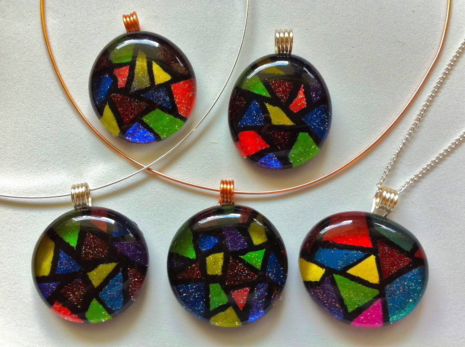 Faux Stained Glass Pendant Make Tile
