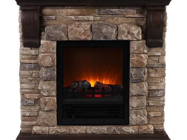 Faux Stone Portable Fireplace Large Traditional