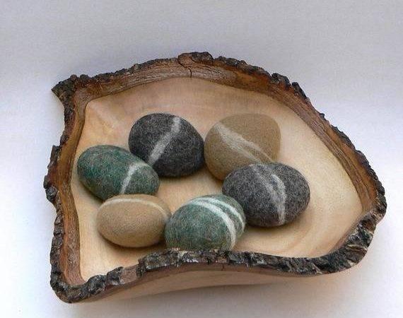 Felted Rocks Pebbble Stones Wool Felt Home Decor Natural