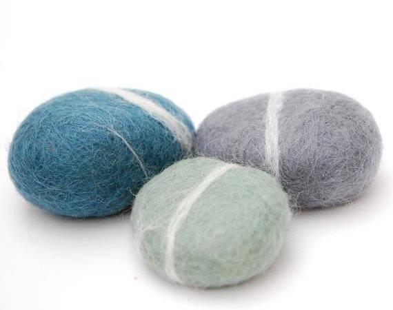 Felted Stones Blue Grey Mint Wool Ecofriendly