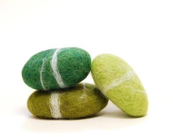 Felted Stones Green Wool Ecofriendly Decor
