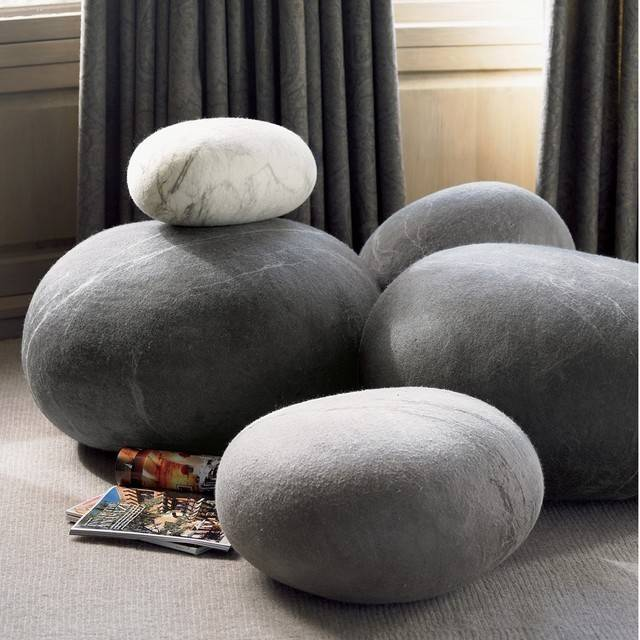 Felted Wool Stones Eclectic Footstools Ottomans