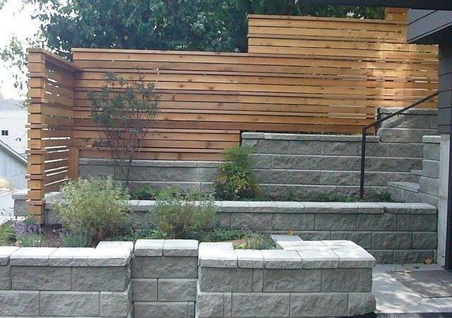 Fence Backyard Modern Stones Wall Horizontal