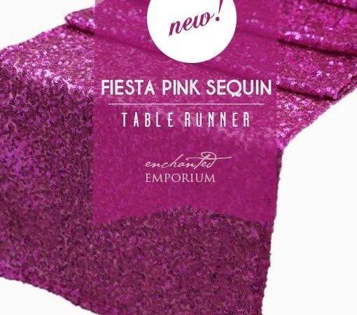 Fiesta Pink Magenta Hot Fuchsia Sequin Table Runner