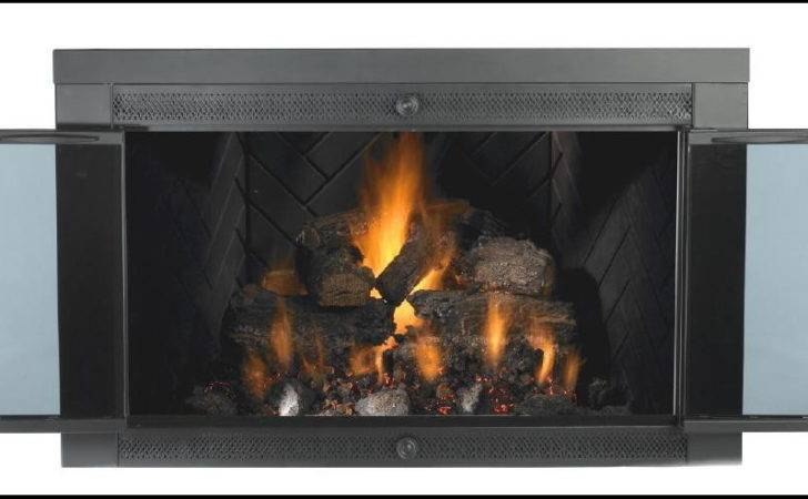 Fireplace Amazing Black Glass Doors Elegant Design Ideas