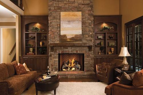 Fireplace Different Stone Have Ceiling Windows Next
