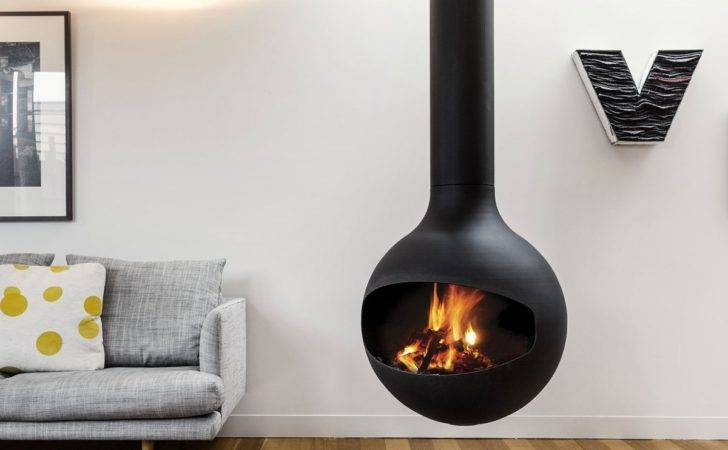 Fireplace Suspended Contemporary Room Fire Alight