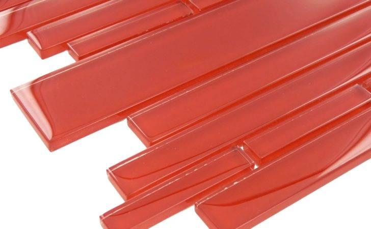 Fireside Red Random Bricks Glass Glossy Tile