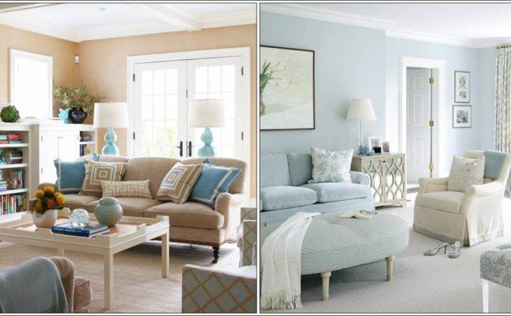 First Living Room Peach Puff Baby Blue Colour Combo