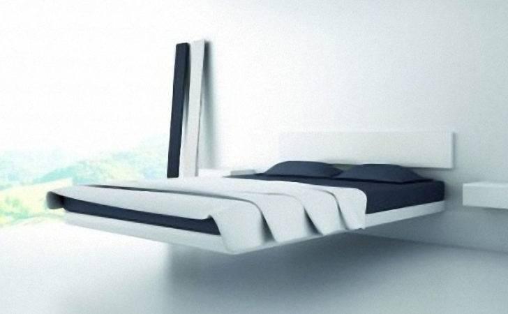 Floating Bed White Minimalist Bedroom Design Ideas