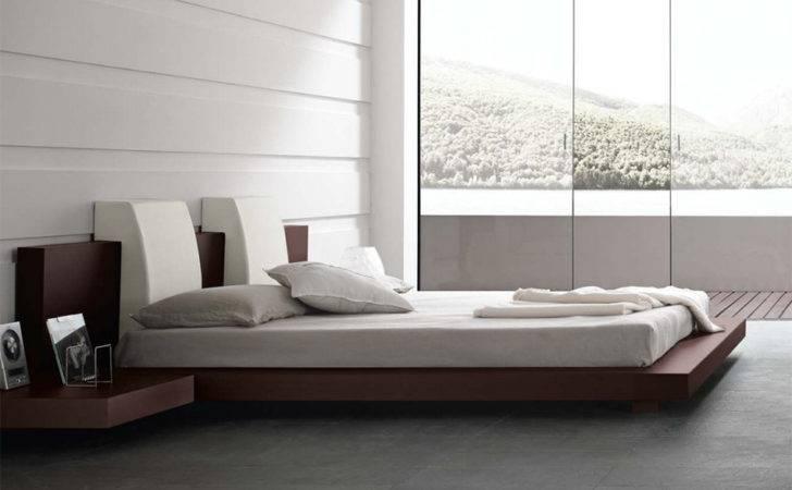Floating Bed Wood Frame White Bedroom Design Ideas
