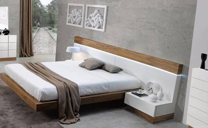 Floating Design Walnut Natural White Piece Queen Bedroom Set