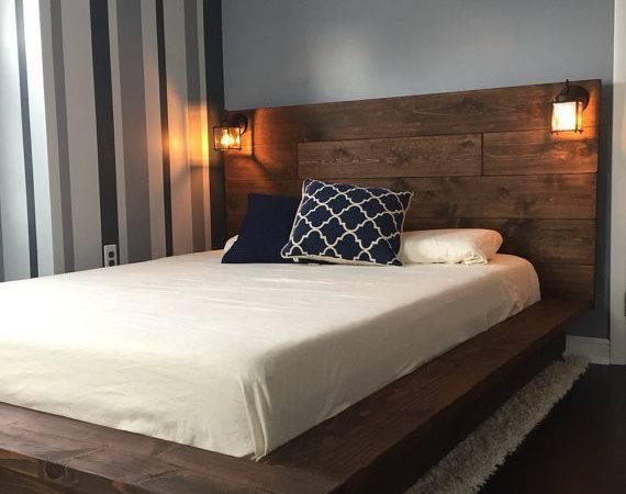 Floating Wood Platform Bed Frame Lighted Headboard Quilmes