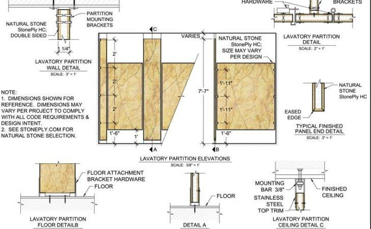Floor Ceiling Mounted Lavatory Partition Mounting Details