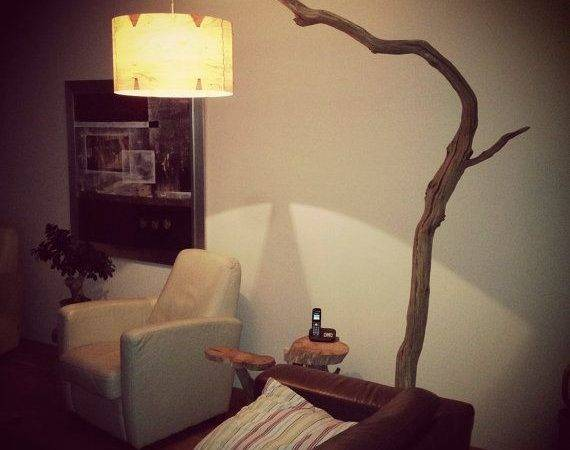 Floor Lamp Arc Made Oak Branch Natural Stone Base