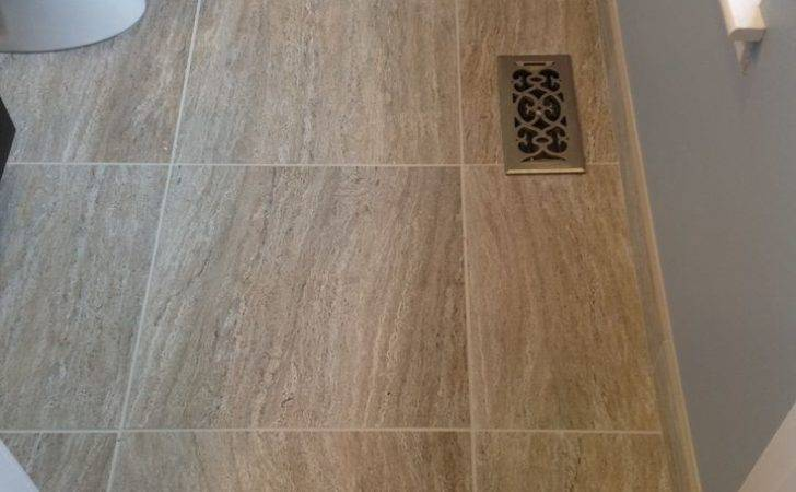 Floor Space Large Format Tiles Work Nicely Small Bathroom