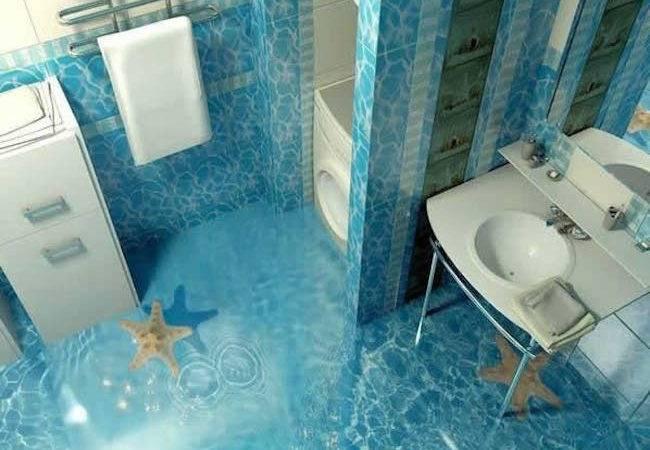 Flooring Bathroom Waves Shoreline