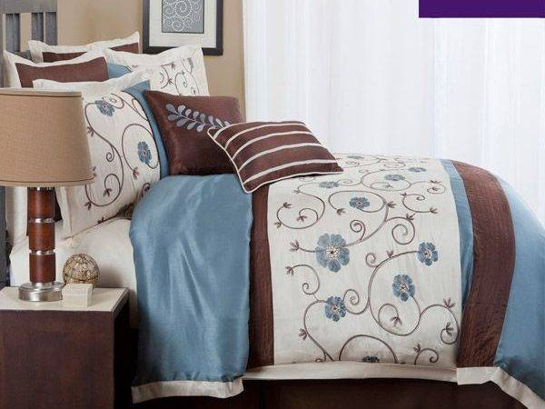Floral Bedding Ivory Blue Brown
