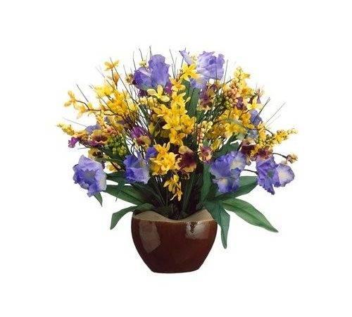 Flower Arrangement Purple Yellow Case Artificial Mixed