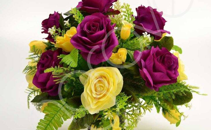 Flower Arrangement Purple Yellow Rose Memorial