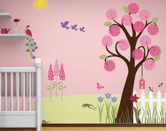 Flower Garden Wall Mural Stencil Kit Baby Girls Room