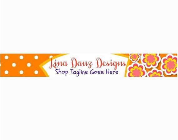 Flower Orange Polka Dot Etsy Banner Linadauzdesigns