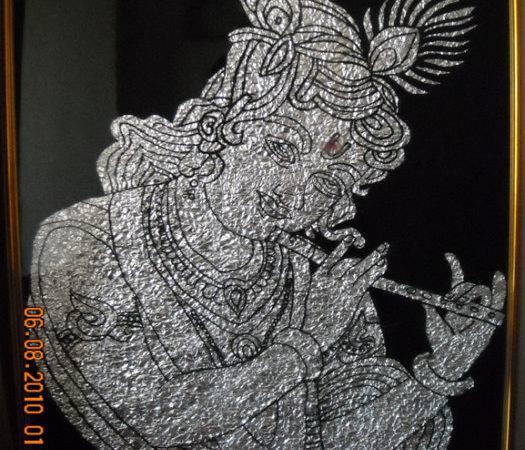 Foil Paper Art Krishna Pattern Tutorial Glass Painting