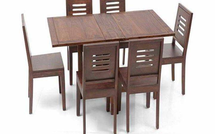 Fold Away Dining Table Chairs Wooden Material