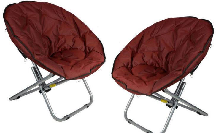 Folding Outdoor Camping Festival Garden Moon Chair Seat Red Preview