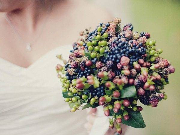 Forest Flowers Berry Bridal Bouquet Wedding Blue Berries