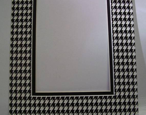 Frame Mat Houndstooth Check Black White