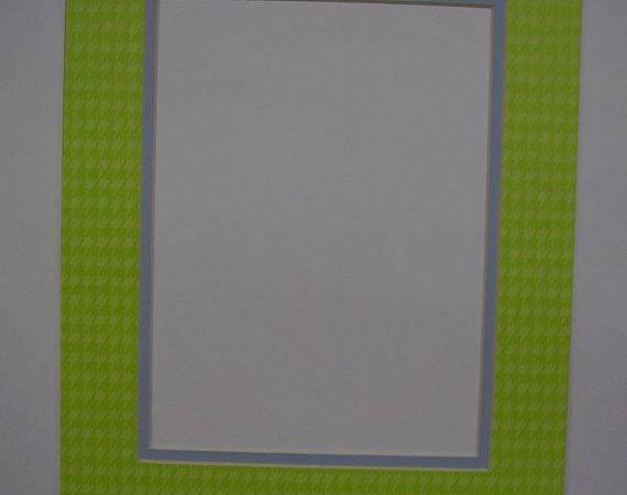 Frame Mat Houndstooth Check Green Baby Blue Inner